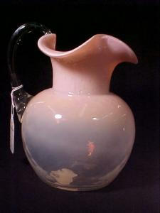 Pink To Clear Opaline Glass Pitcher