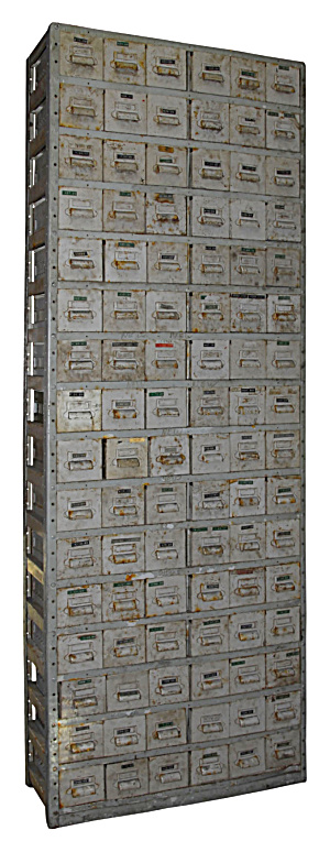96 Drawer Antique Industrial Parts Cabinet