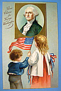 George Washington Postcard With Two Children
