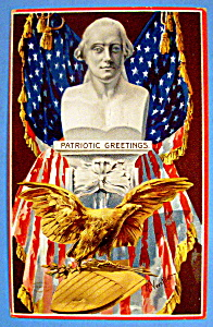 Patriotic Greetings Postcard With American Eagle