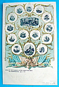 Seals Of The Thirteen States Postcard