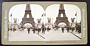 Eiffel Tower & Entrance To Exposition Stereo Card