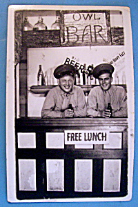 Two Soldiers In Bar Scene Postcard (San Diego Park)