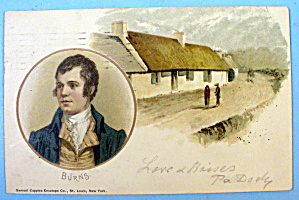 Burns Portrait With People Walking Postcard