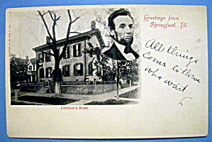 Lincoln's Home In Springfield, Ill Postcard