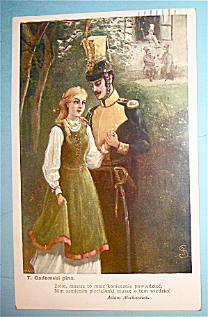 T. Gadomski Pinx Postcard With Soldier & Woman