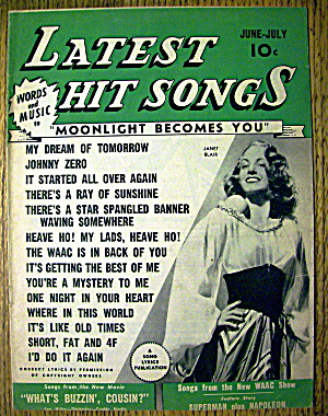 Latest Hit Songs June-july 1943 Janet Blair Cover