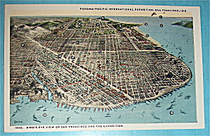 Bird's Eye View Of San Francisco & Exposition Postcard