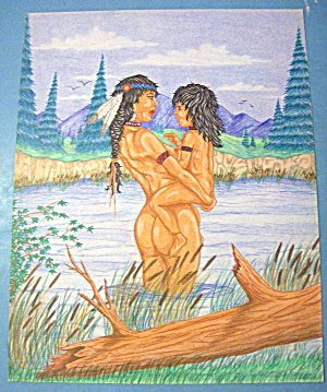 Indian Summer Original Nude Fantasy Drawing J. C. Pond