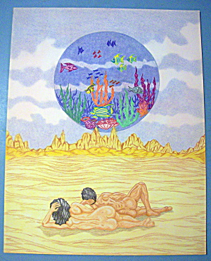 Ocean In The Air - Original Nude Fantasy Drawing