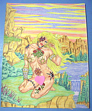 Summer Breeze - Original Nude Fantasy Drawing