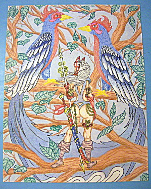 Birds Of Paradise - Original Nude Fantasy Drawing
