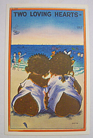 Two Black Kids Sitting On Beach Postcard