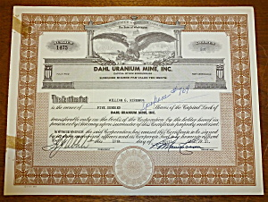 1957 Dahl Uranium Mine Inc. Stock Certificate