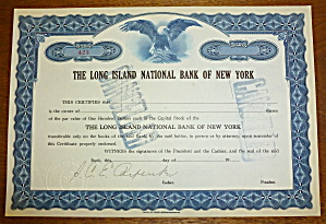 Long Island National Bank Of New York Stock Certificate