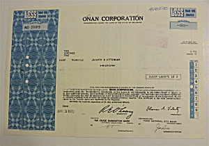1972 Onan Corporation Stock Certificate
