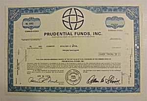 1973 Prudential Funds Inc. Stock Certificate
