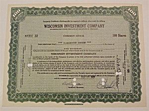 1929 Wisconsin Investment Company Stock Certificate