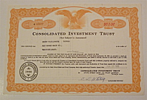 1963 Consolidated Investment Trust Stock Certificate