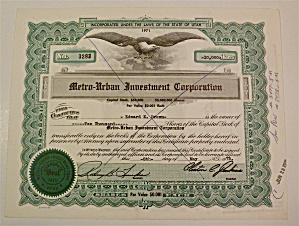 1975 Metro-urban Investment Corp Stock Certificate