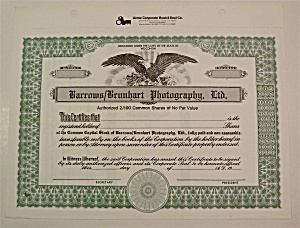 Barrows/brunhart Photography Ltd Stock Certificate
