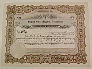 Virginia Office Supplies Inc. Stock Certificate