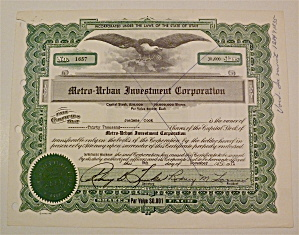 1971 Metro-urban Investment Corp Stock Certificate