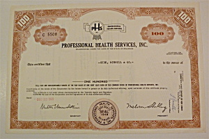 1969 Professional Health Services Stock Certificate