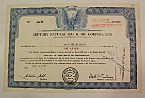 1955 Century Natural Gas & Oil Corp Stock Certificate