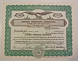 National Sweepstakes Corporation Stock Certificate