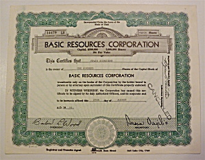 1966 Basic Resources Corporation Stock Certificate
