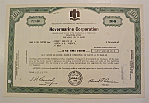 1974 Hovermarine Corporation Stock Certificate