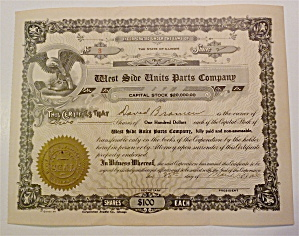 1930 West Side Units Parts Company Stock Certificate