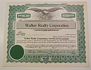 1961 Walker Realty Corporation Stock Certificate