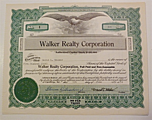1954 Walker Realty Corporation Stock Certificate