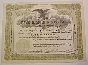 1923 David H. Smith & Sons Inc. Stock Certificate