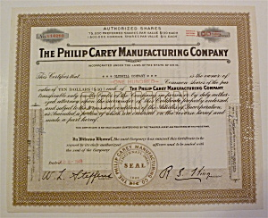 1949 Philip Carey Manufacturing Co Stock Certificate
