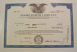1972 Idaho Power Company Stock Certificate