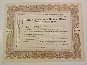 Butte Copper Consolidated Mines Stock Certificate