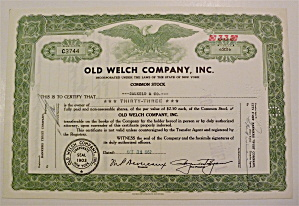 Old Welch Company Inc. Stock Certficate