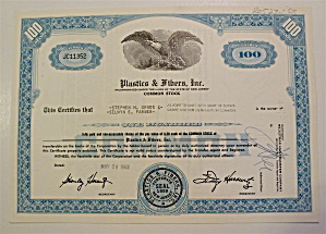 Plastics & Fibers Inc. Stock Certificate