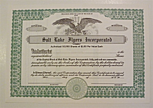 Salt Lake Flyers Inc. Stock Certificate