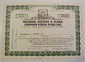 Scudder, Stevens & Clark Common Stock Fund Certificate