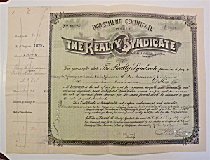 The Realty Syndicate Stock Certificate