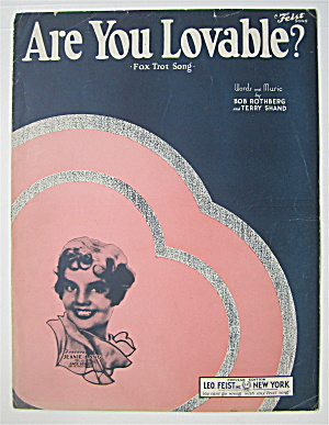 Sheet Music 1933 Are You Lovable?