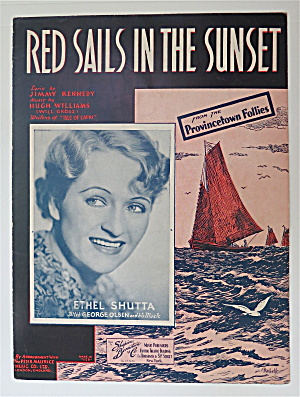 Sheet Music For 1935 Red Sails In The Sunset