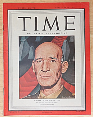 Time Magazine February 19, 1945 Simpson Of The 9th Army