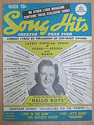 March 1944 Song Hits Kate Smith Cover