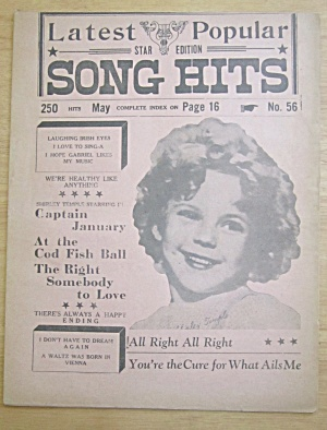 1930's Song Hits With Shirley Temple Cover