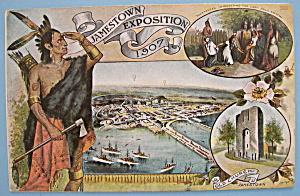 Indian & Pocahontas Postcard (1907 Jamestown Expo)